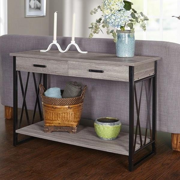 Entryway Table Sofa Console Furniture Rustic Accent Wood Metal