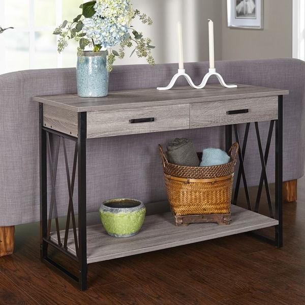 Entryway Table Furniture Rustic Storage Accent Metal New