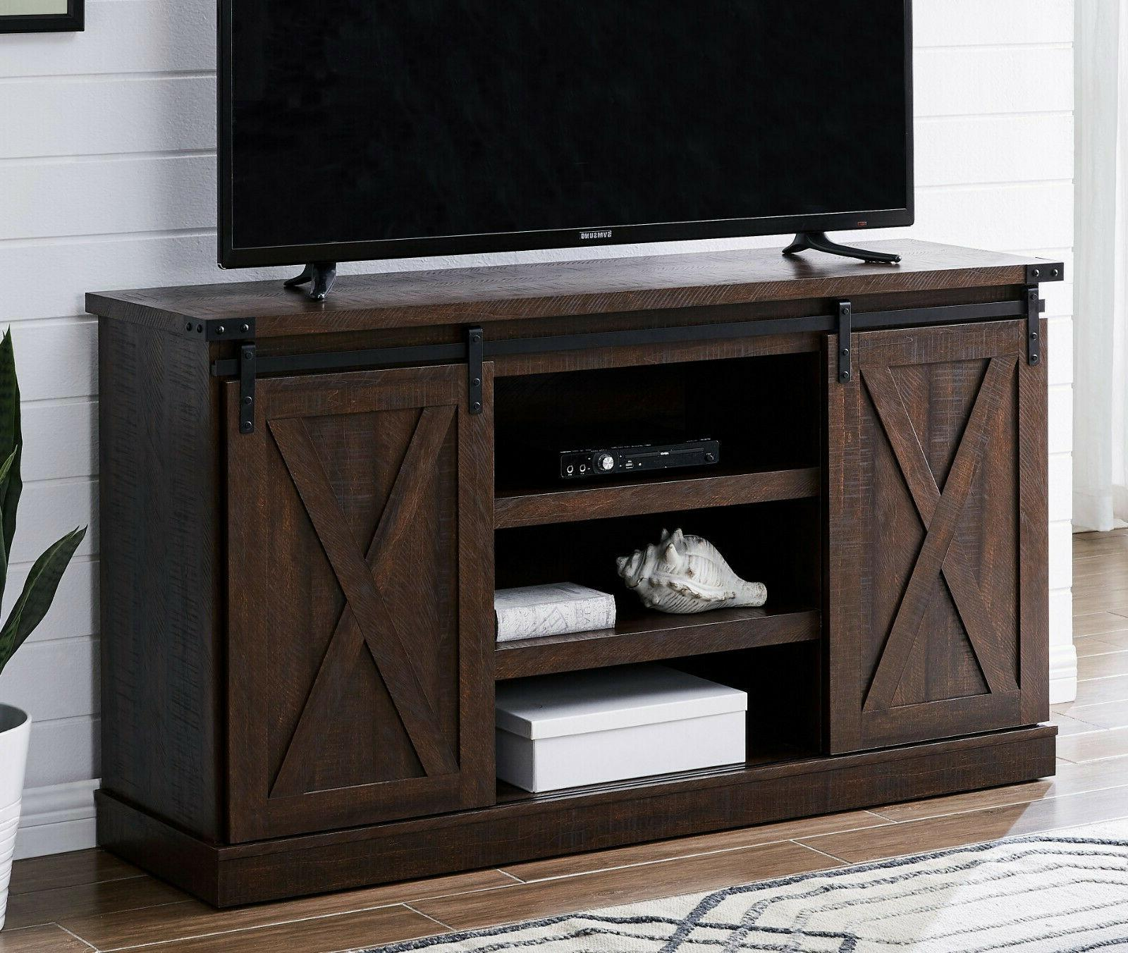 Espresso TV Stand Sliding Door Table TVs Up To