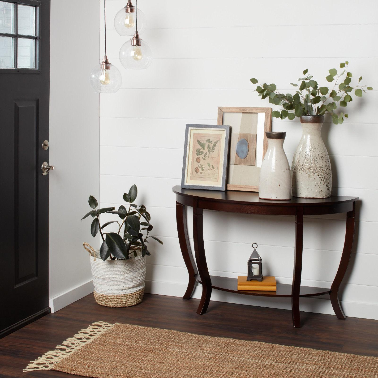 espresso wood accent table entryway console sofa