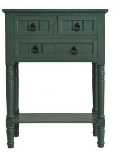 farmhouse chest 3 drawers teal wood nightstand