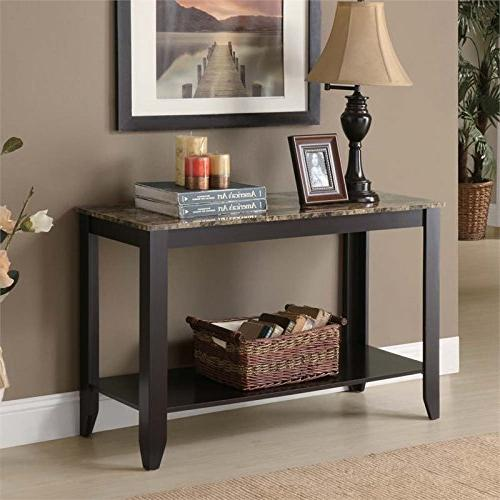 Pemberly Row Faux Top Table in Cappuccino