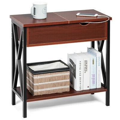 flip top end table sofa side console
