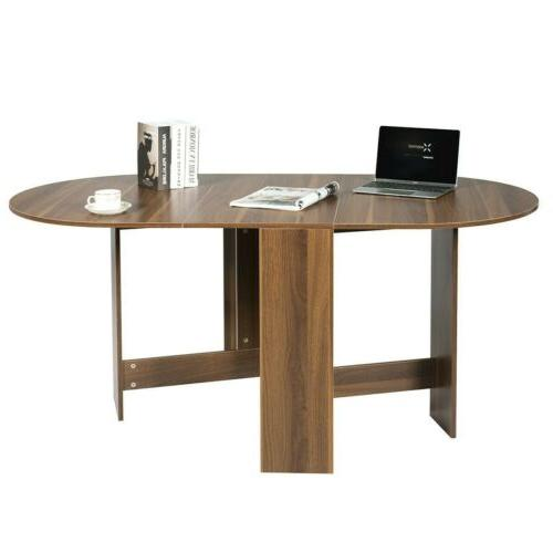 Folding Table Console Table Extending Multifunctional Oval Home