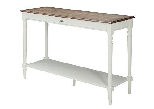 Convenience Console Table with Drawer and Shelf, White