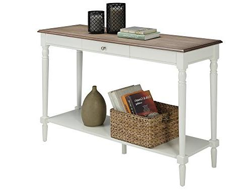 Convenience French Country Console Table with and Shelf, Driftwood White