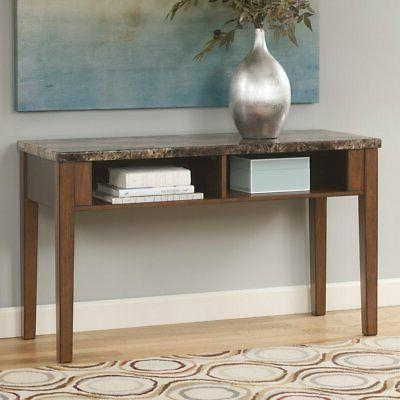 theo rectangular brown console sofa table