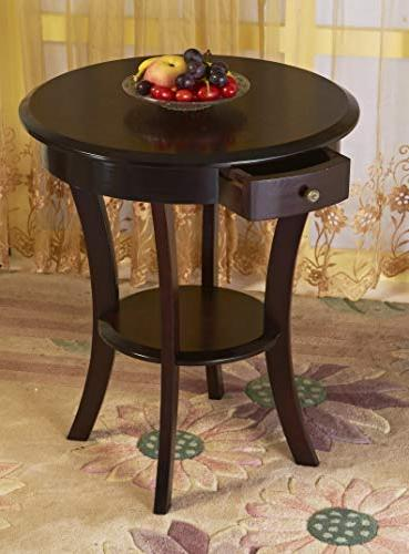 Furniture Wood Round Table with Shelf,Espresso …