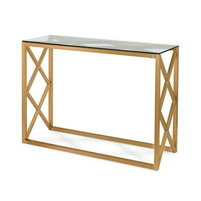 geometric console table in gold