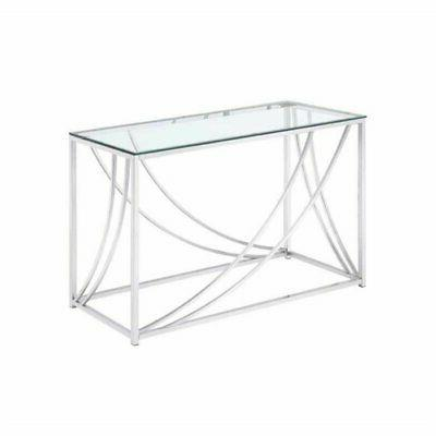 glass console table chrome