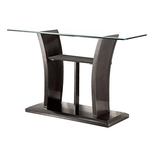 glass console table gray