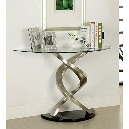 glass console table satin