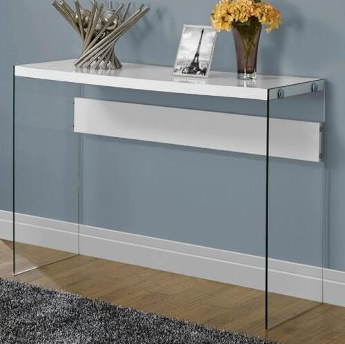 Glass And Metal Console Table Behind Entryway Modern Room