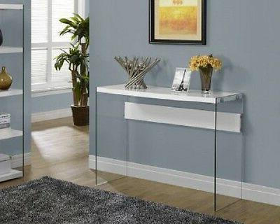glass metal console table behind