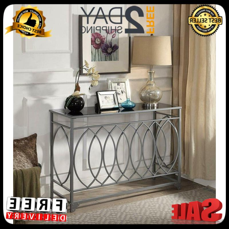 glass top console table furniture accent black