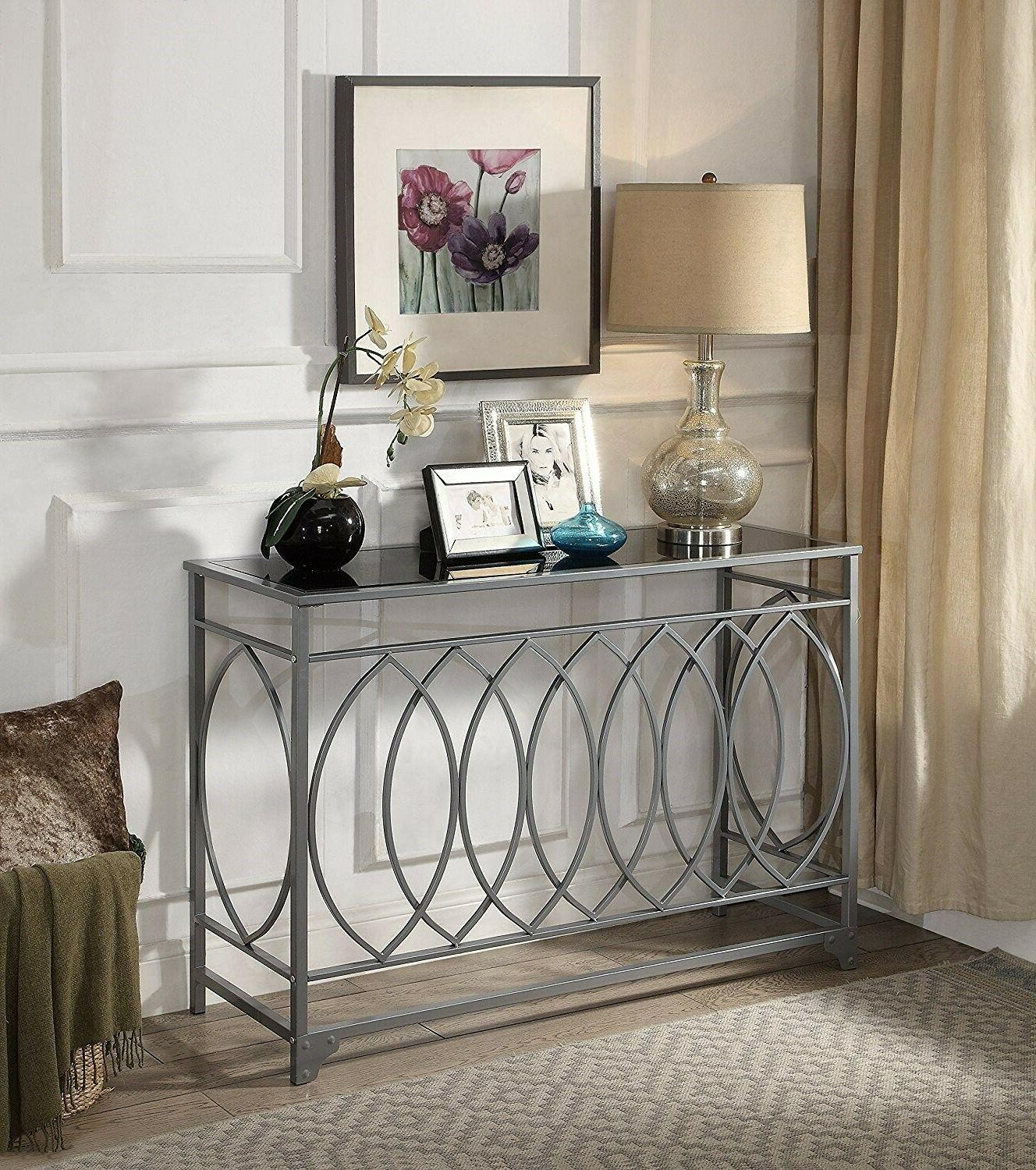 Glass Console Table Furniture Black Entryway Sofa Hall