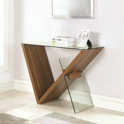 Coaster Glass Console Table in Walnut