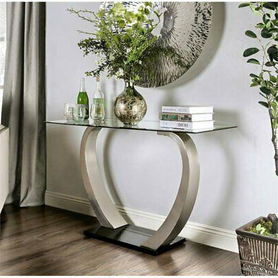glass top console table in satin