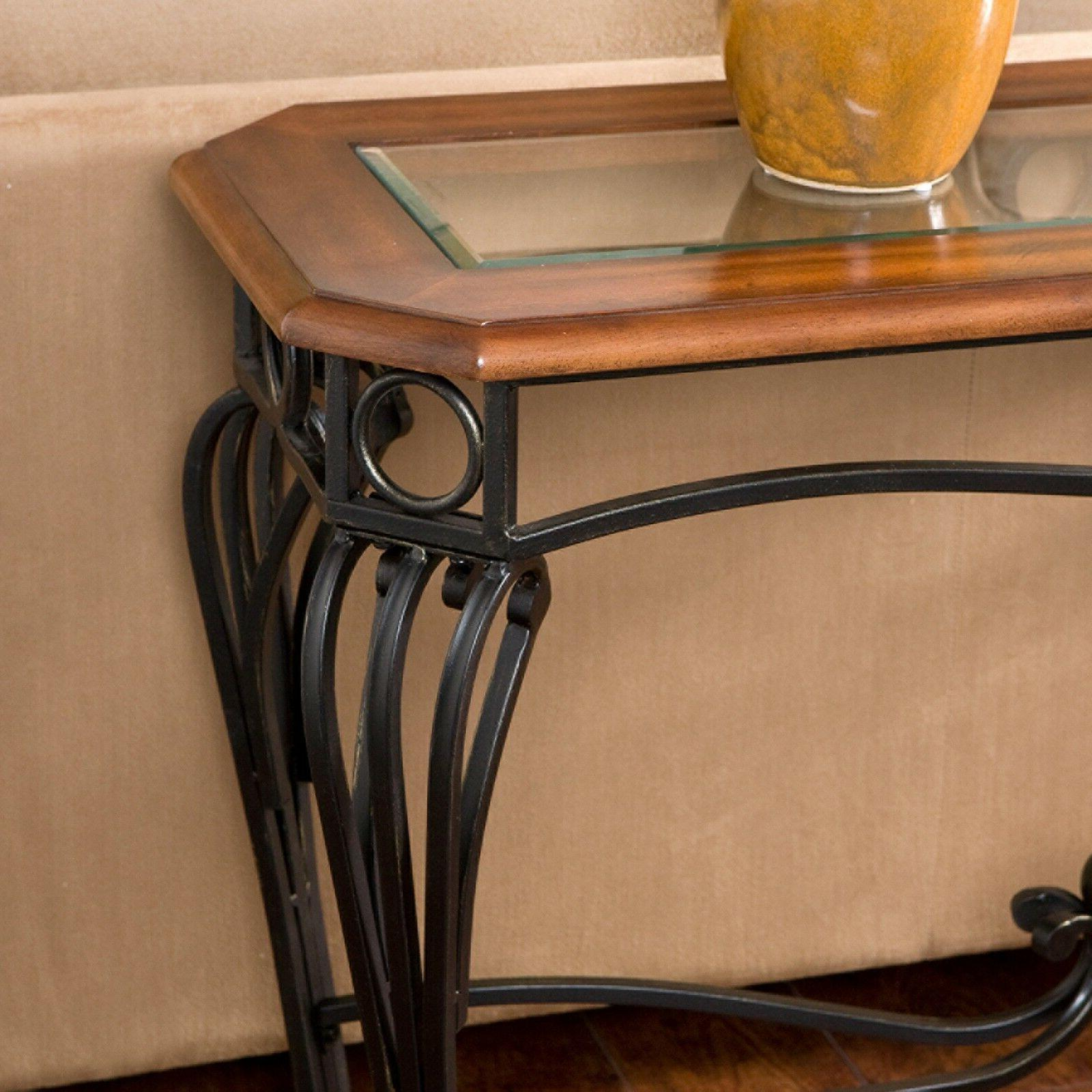 Dark Cherry Sofa Table Glass Top Console Entry Hall Room