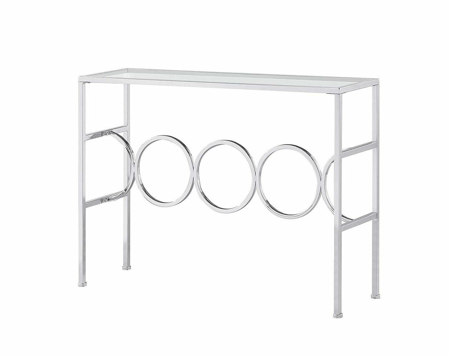 Glass Top Sofa Furniture Console Accent Entryway Chrome Clear