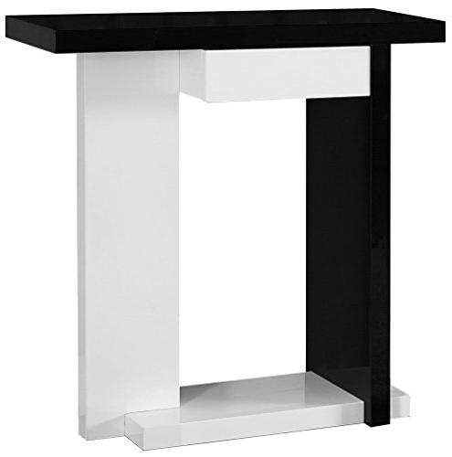 glossy white black hall console