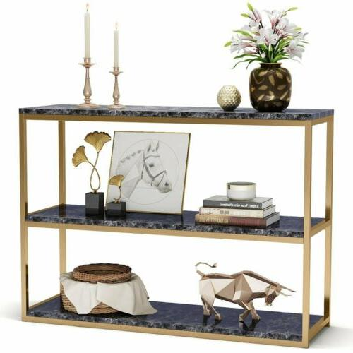 1/ 3 Tier Modern Coffee Console Table with Faux Marble Top a