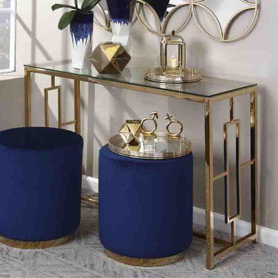 gold metal console table