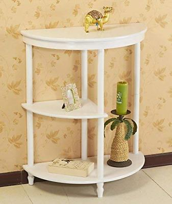 half moon console table white
