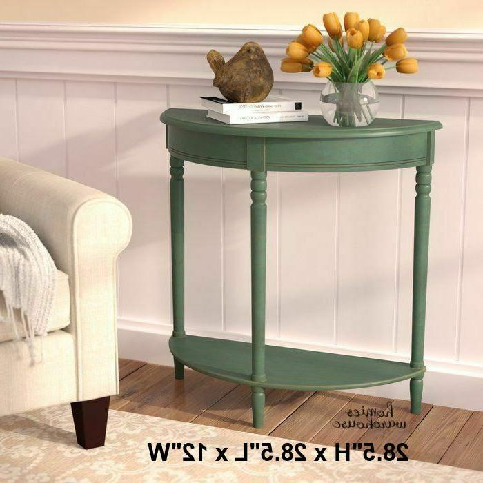 Half Moon Entry Table Small Console Rustic Green Hall Sofa A