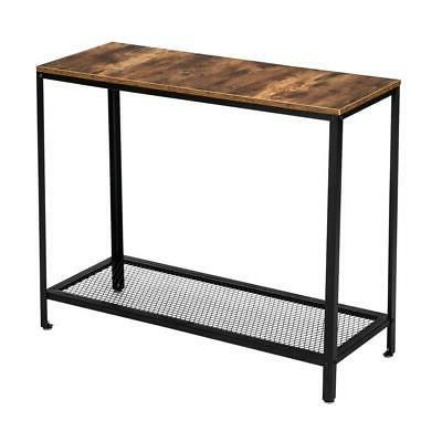 Sofa Side Console Table with Storage Shelves Narrow Accent T