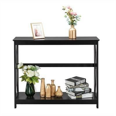 New MDF Console Table Sofa with Stand Entryway Wood Black