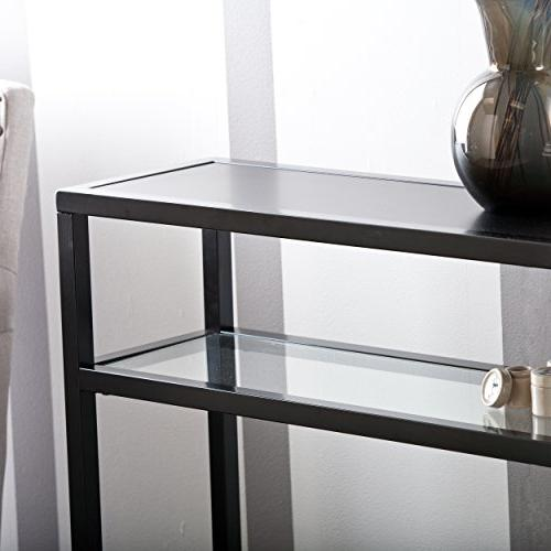Holly Glass Table, Matte Black Finish
