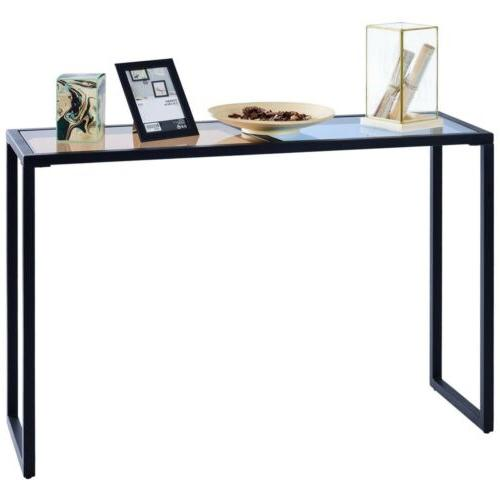 Home Metal Console Table Glass Top