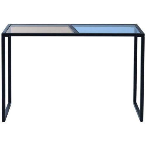 Home Metal Frame Console Table Tempered Glass Top Entryway