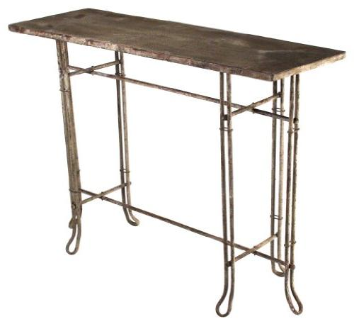hr10279 rustic metal console table