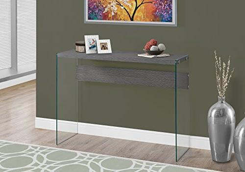 """Monarch I Console Table, Tempered Glass, Grey, 44""""L"""