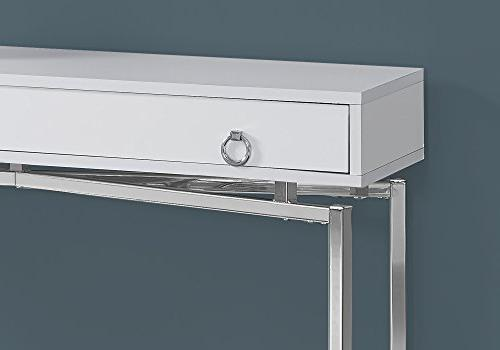 """Monarch Specialties I Glossy/Chrome Accent Table, 42"""" L, White"""