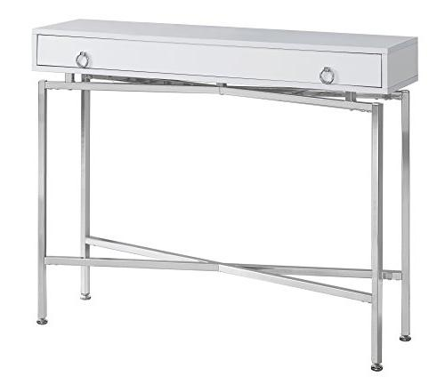 """Monarch Specialties I Glossy/Chrome Table, 42"""" L,"""