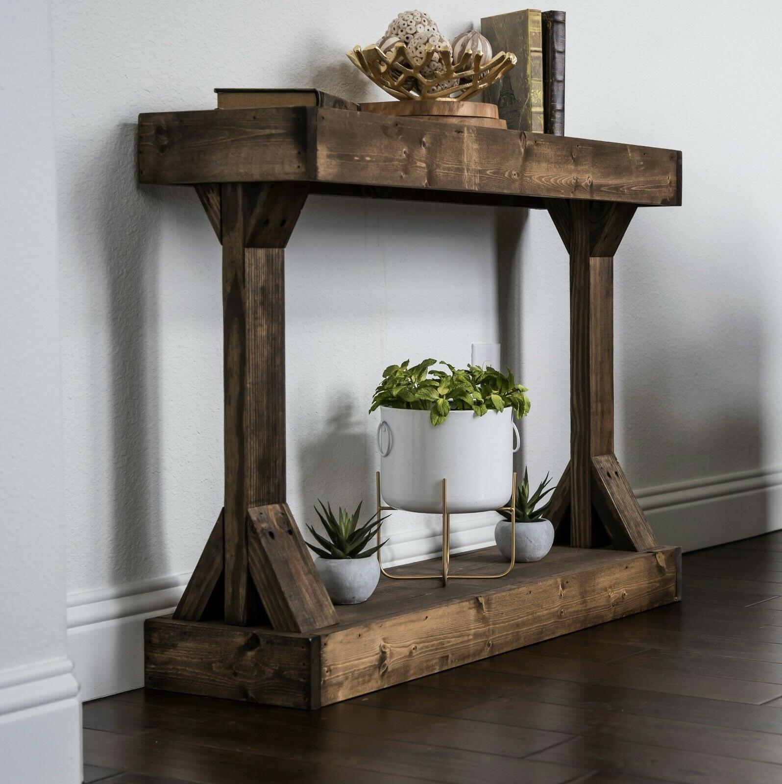 Solid Wood Console Table Modern Rustic Accent Distressed Sma