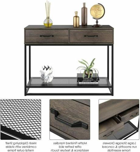 Industrial Table with 2 Drawers and Storage