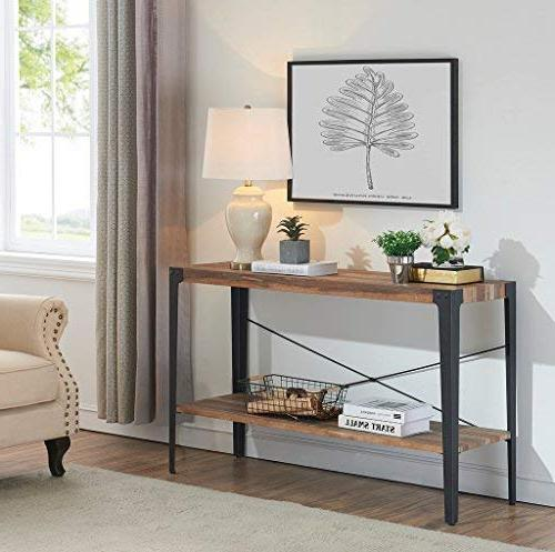 O&K Furniture 2-Tier Occasional Console Sofa Table for & Entryway, Brown Finish