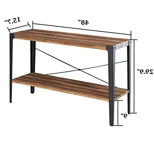 O&K Industrial Table for & Entryway, Brown