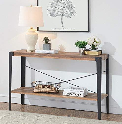 O&K Furniture Rustic 2-Tier Console Table &