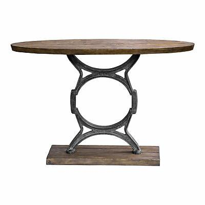 industrial wood plank cast iron console table