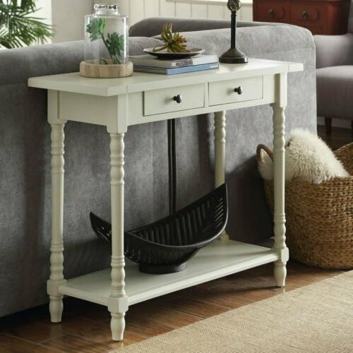 Cream Wooden Console Table Behind Sofa Entry Hallway Accent