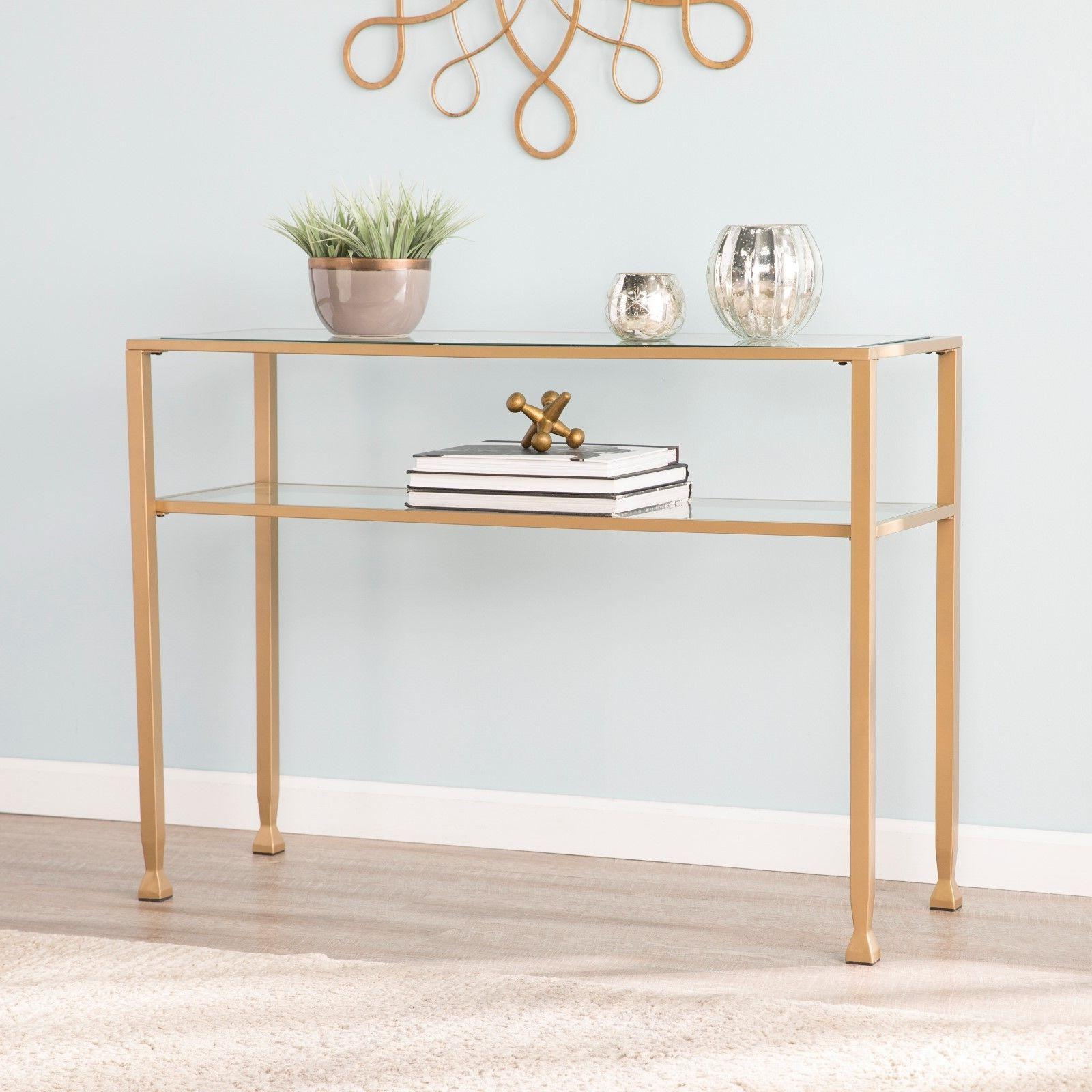 jst37575 gold metal glass sofa console table