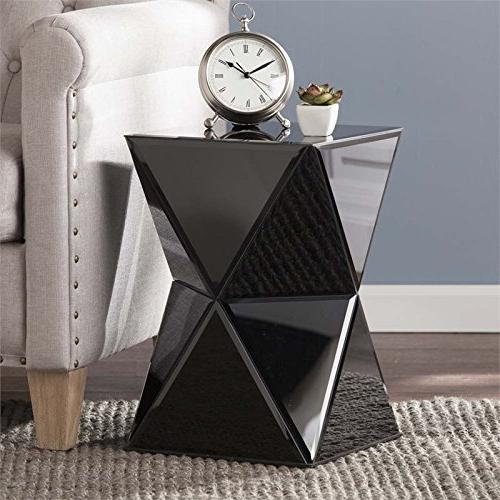 justine mirrored accent table