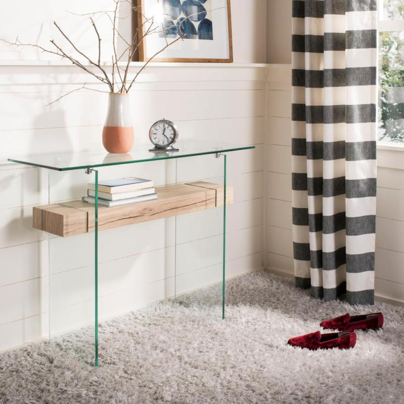 kayley clear natural console table