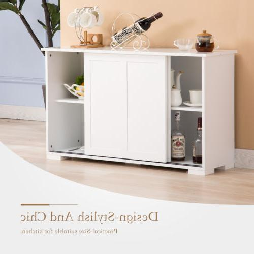 Kitchen Buffet Cupboard Console Table w/Sliding