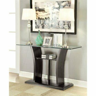 Furniture of America Lantler Glass Top Console Table in Gray